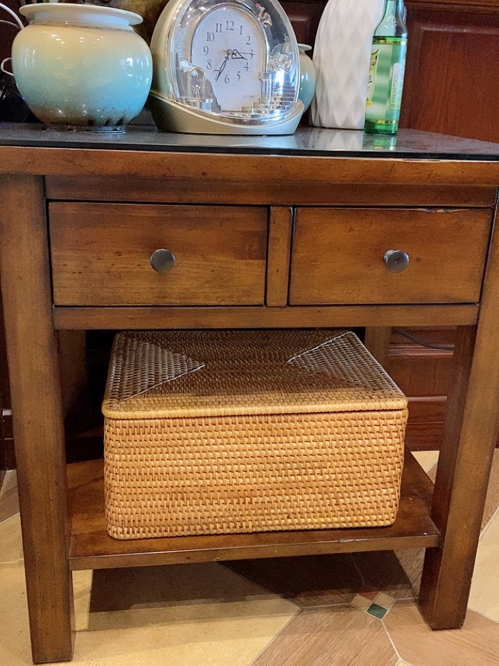 Rectangular storage baskets, hand woven storage basket with lip, rattan storage baskets, storage basket for toys and clothes