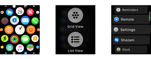Apple Watch Honeycomb Layout switch to List View