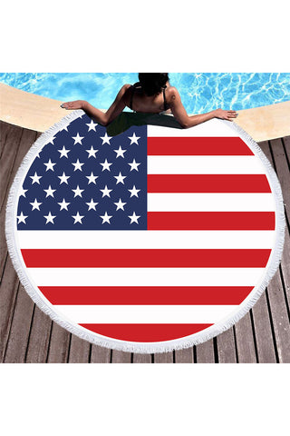 Tassel Giant Beach Blanket Picnic Camping Mat Round Sandbeach Towel Printed Cloth Pad Shawl Mattress