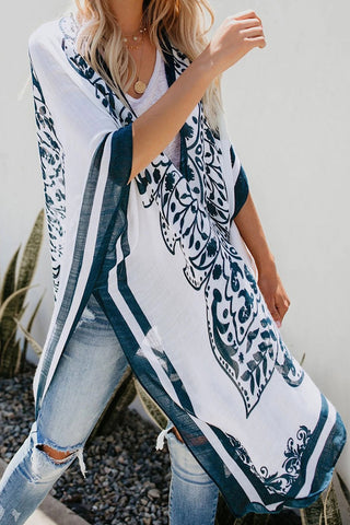 Printed Collarless Slit Poncho Cover Up
