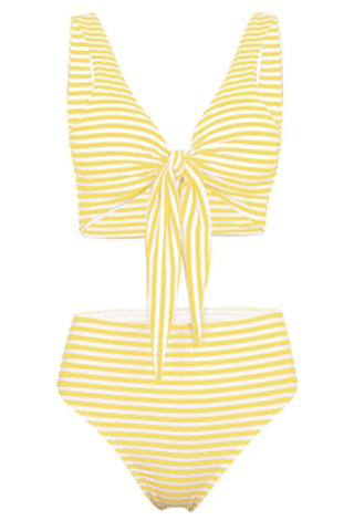 Plunge Neck Padded Stripe High Waist Women Bikini Set