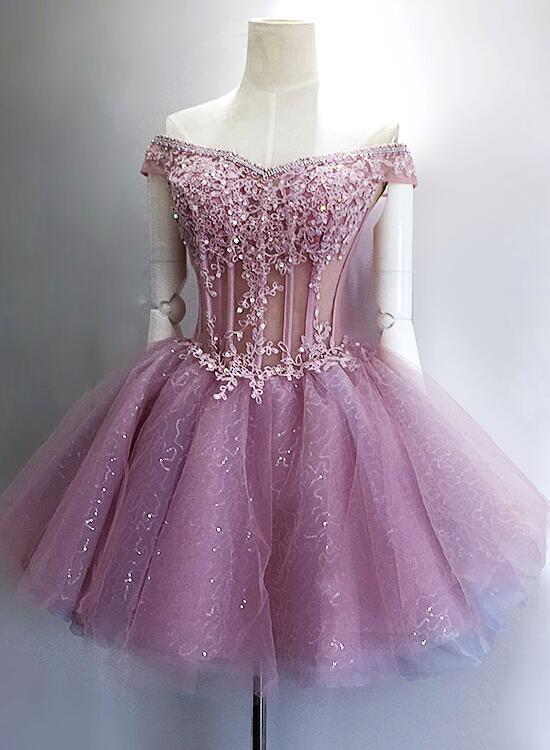 Lovely Sequins And Lace Off Shoulder Short Party Dress, Pink Homecoming Dreses