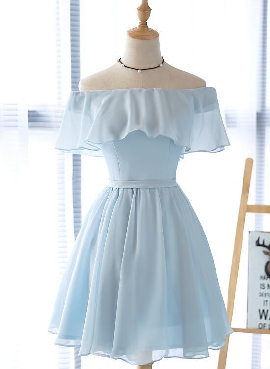 Simple Light Blue Off Shoulder Formal Dress , Short Party Dresses