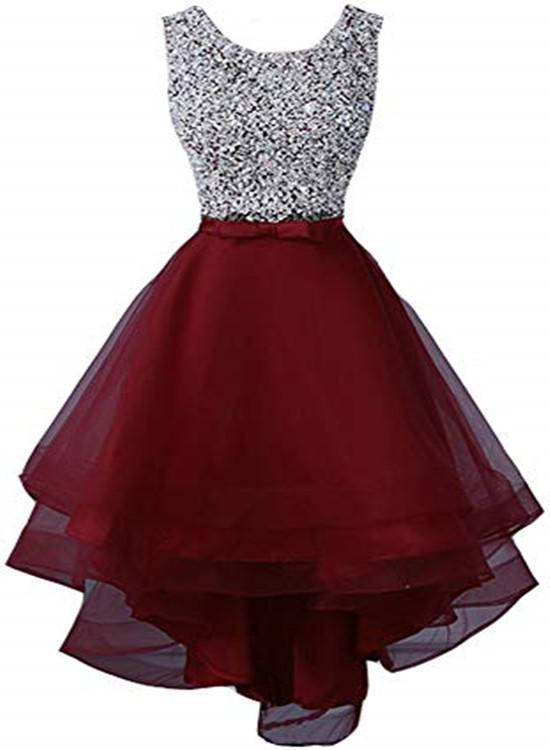 Beautiful Tulle Red Sequins High Low Party Dresses, High Low Homecoming Dresses