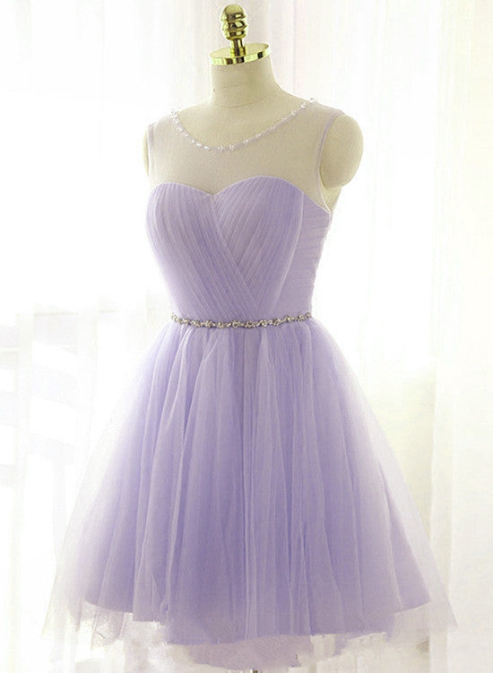 Neckline Short Tulle Graduation Dress