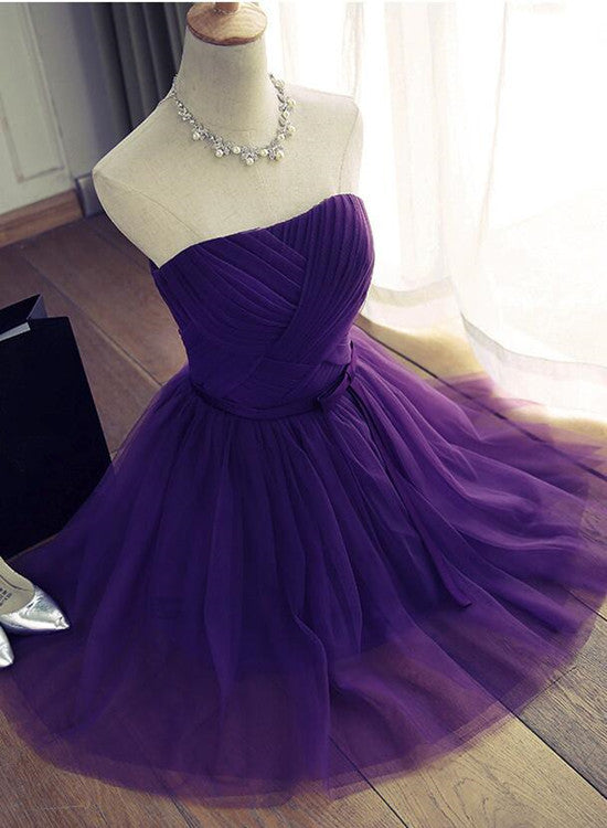 Purple Short Tulle Homecoming Dress