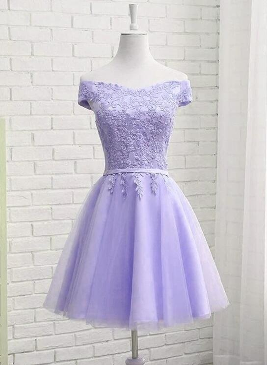 Lavender Tulle Short Party Dress