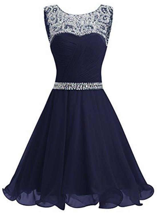 Beautiful Navy Blue Chiffon And Sequins Knee Length Formal Dress