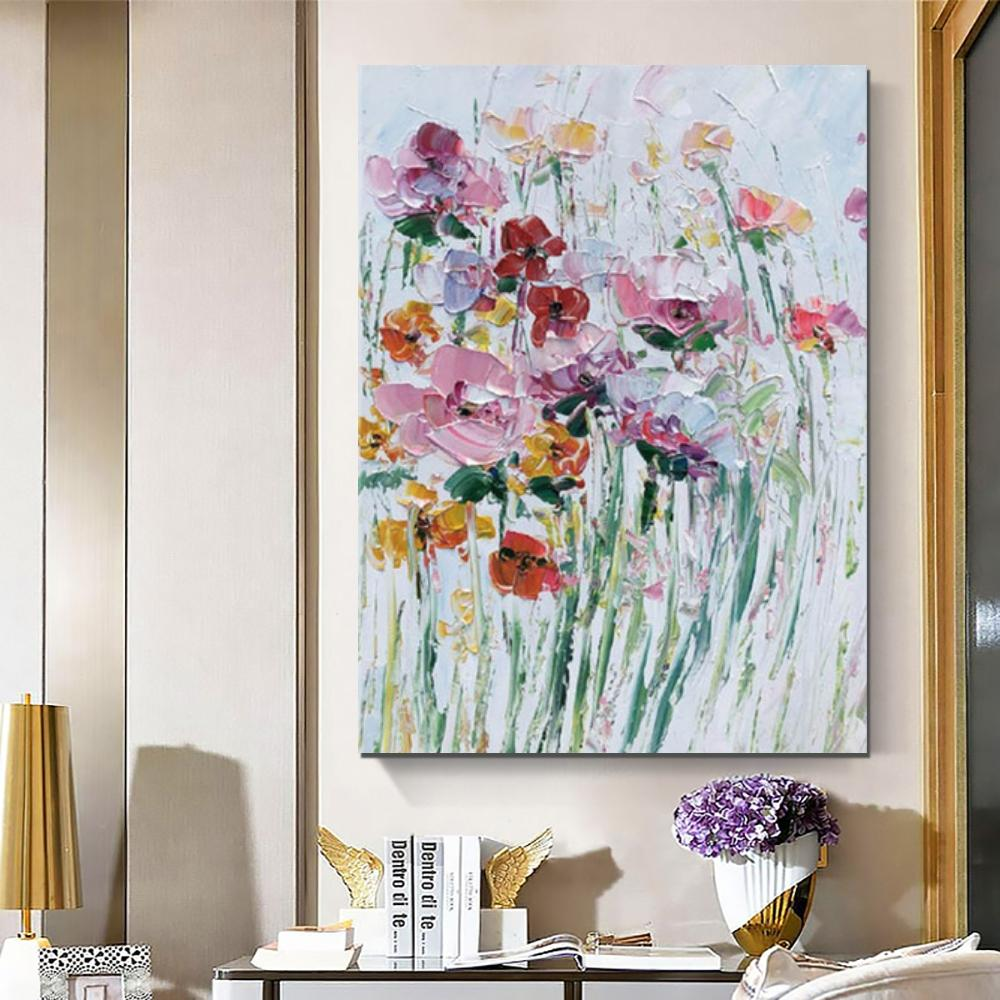 Flower Abstract Painting, Heavy Texture Painting, Bedroom Canvas Paintings, Heavy Texture Painting