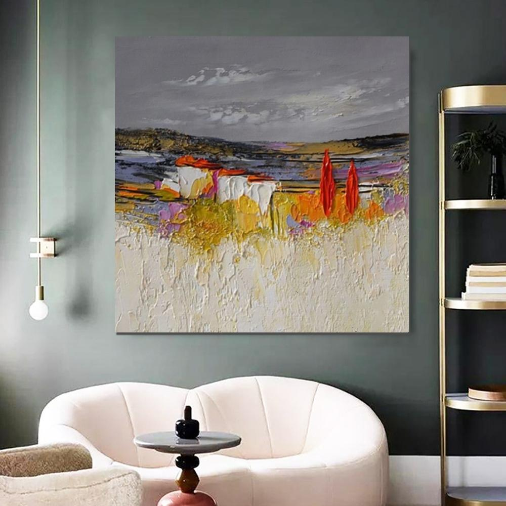 Abstract Landscape Painting, Large Landscape Painting for Bedroom, Heavy Texture Painting, Palette Knife Artwork
