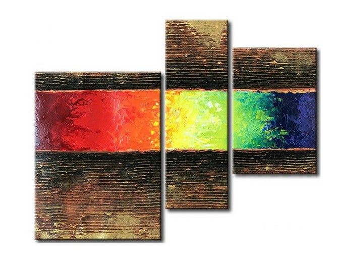 Canvas Paintings for Dining Room, Acrylic Painting Abstract, 3 Piece Wall Art, Modern Paintings, Hand Painted Wall Art