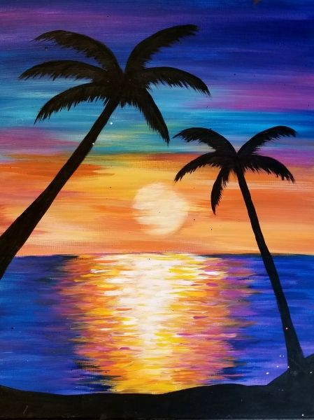 Easy Landscape Paintings Ideas for Beginners, Simple Canvas Paintings, Sunrise Painting, Easy Acrylic Painting Ideas for Beginners