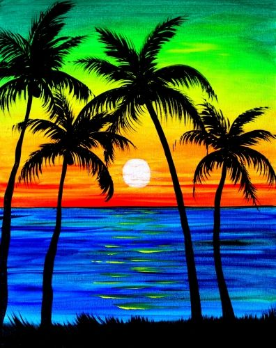 Easy Seascape Painting Ideas for Beginners, Simple Landscape Painting Ideas, Easy Acrylic Paintings, Sunrise Painting