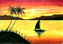 40 Easy Landscape Painting Ideas for Beginners, Sunrise Painting, Easy Acrylic Painting Ideas, Easy Boat Painting Ideas, Sunset Painting, Easy Canvas Painting Ideas