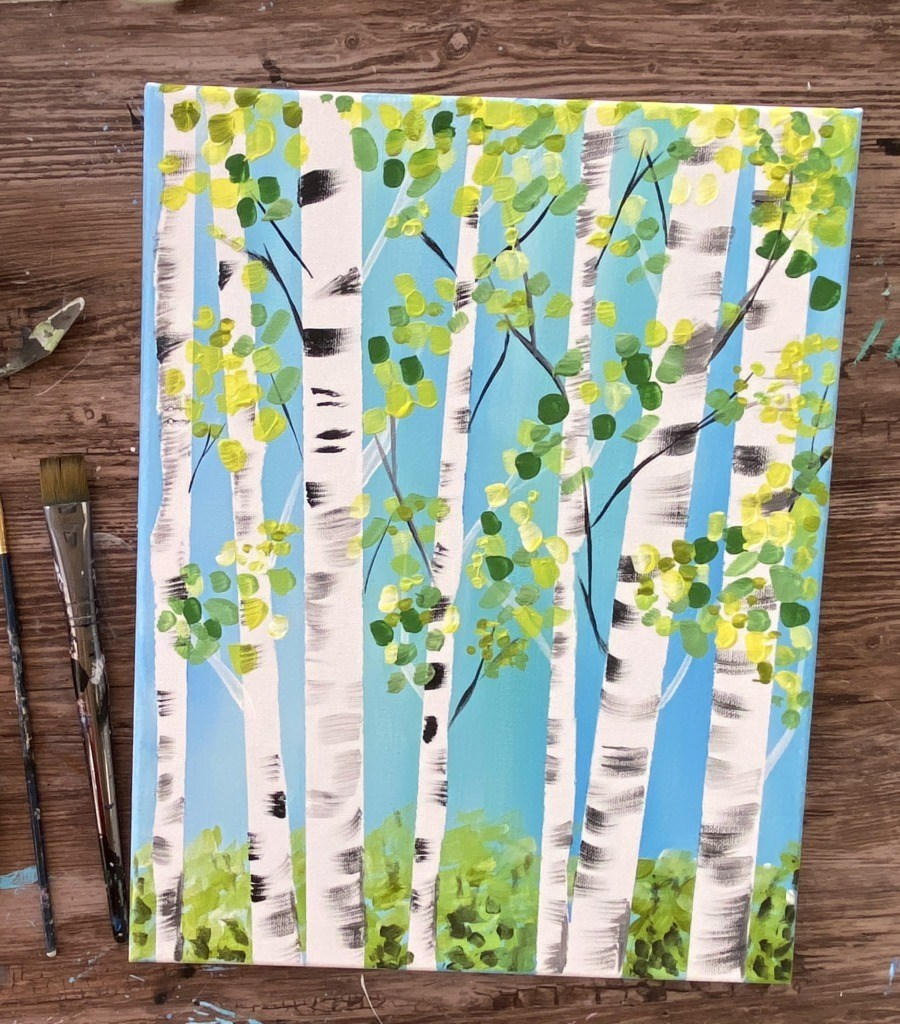 Easy Landscape Paintings Ideas for Beginners, Birch Tree Paintings, Simple Canvas Paintings, Easy Acrylic Painting Ideas for Beginners