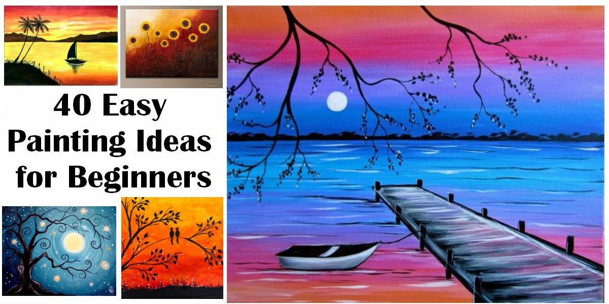 40 Easy Landscape Painting Ideas for Beginners, Easy Tree Painting Ideas, Simple Abstract Painting Ideas, Sunrise Painting, Easy Acrylic Painting Ideas, Easy Canvas Painting Ideas