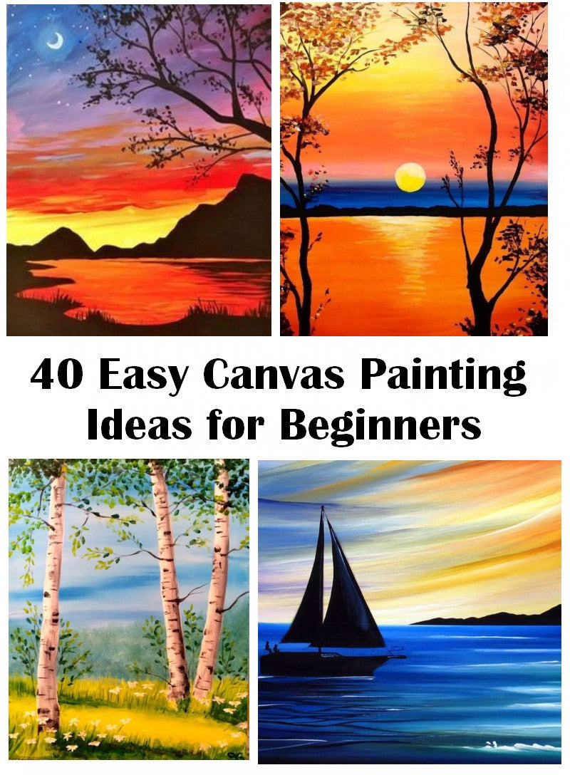 40 Easy Landscape Painting Ideas for Beginners, Easy Canvas Painting Ideas, Easy Acrylic Painting Ideas, Easy Tree Painting Ideas, Simple Abstract Painting Ideas, Seascape Sunrise Painting