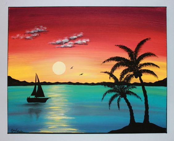 Easy Landscape Paintings Ideas for Beginners, Simple Canvas Paintings, Sunset Painting, Boat Painting, Easy Acrylic Painting Ideas for Beginners
