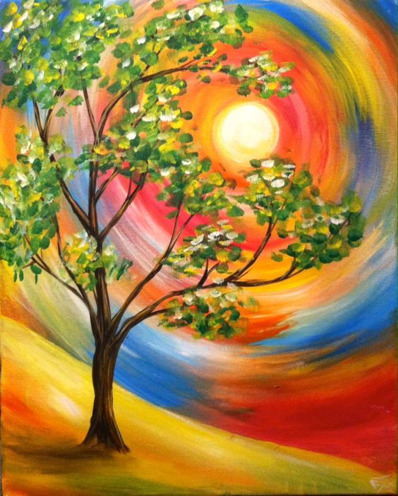 Easy Tree Painting Ideas for Beginners, Simple Abstract Painting Ideas, Easy Acrylic Paintings, Simple Landscape Painting Ideas