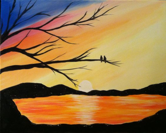 Easy Landscape Painting Ideas for Beginners, Easy Acrylic Painting Ideas, Easy Tree Painting Ideas, Simple Abstract Painting Ideas, Sunrise Painting, Easy Canvas Painting Ideas