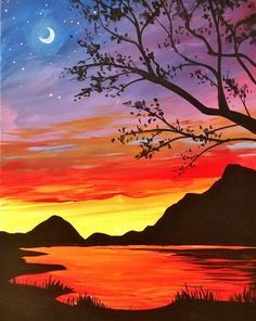 40 Easy Landscape Painting Ideas for Beginners, Sunrise Painting, Easy Acrylic Painting Ideas, Simple Abstract Painting Ideas, Easy Canvas Painting Ideas