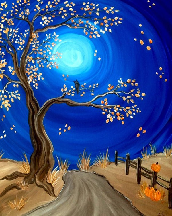 40 Easy Landscape Painting Ideas for Beginners, Simple Tree Paintings, Easy Acrylic Painting Ideas, Easy Tree Painting Ideas, Simple Abstract Painting Ideas, Moon Painting, Easy Canvas Painting Ideas