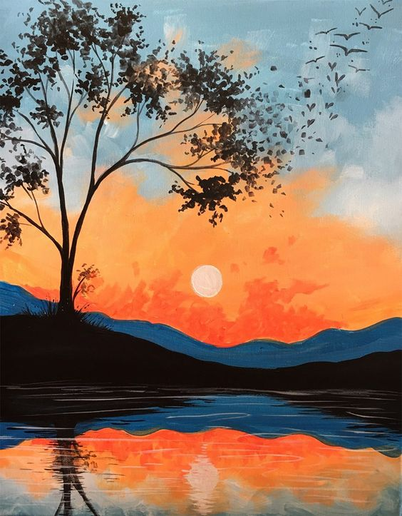 Easy Landscape Paintings Ideas for Beginners, Simple Canvas Paintings, Tree Paintings, Easy Acrylic Painting Ideas for Beginners