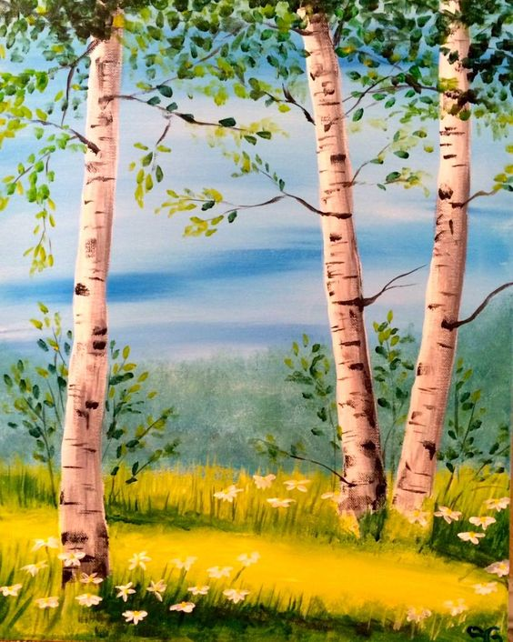 Easy Landscape Paintings Ideas for Beginners, Simple Canvas Paintings, Birch Tree Painting, Easy Acrylic Painting Ideas for Beginners