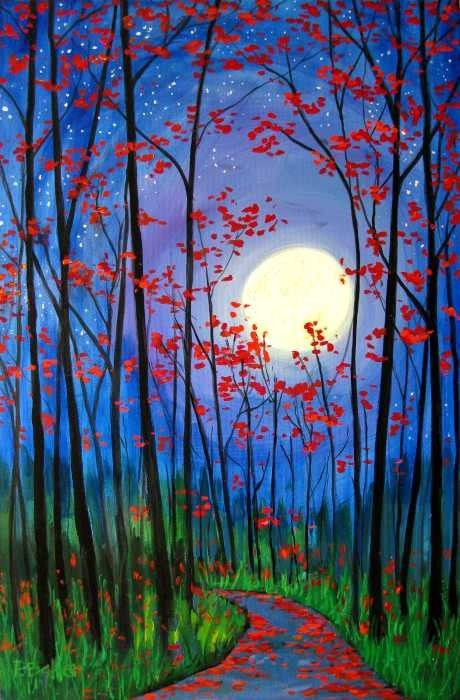 Easy Landscape Paintings Ideas for Beginners, Forest Paintings, Simple Canvas Paintings, Easy Acrylic Painting Ideas for Beginners