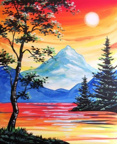 Easy Landscape Painting Ideas for Beginners, Easy Acrylic Painting Ideas, Simple Abstract Painting Ideas, Mountain Landscape Painting, Easy Canvas Painting Ideas