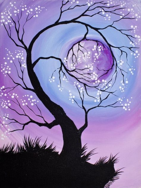 Easy Landscape Paintings Ideas for Beginners, Easy Tree Art, Simple Canvas Paintings, Easy Acrylic Painting Ideas for Beginners