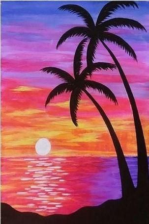 Easy Landscape Paintings Ideas for Beginners, Simple Canvas Paintings, Sunrise Palm Tree Painting, Easy Acrylic Painting Ideas for Beginners