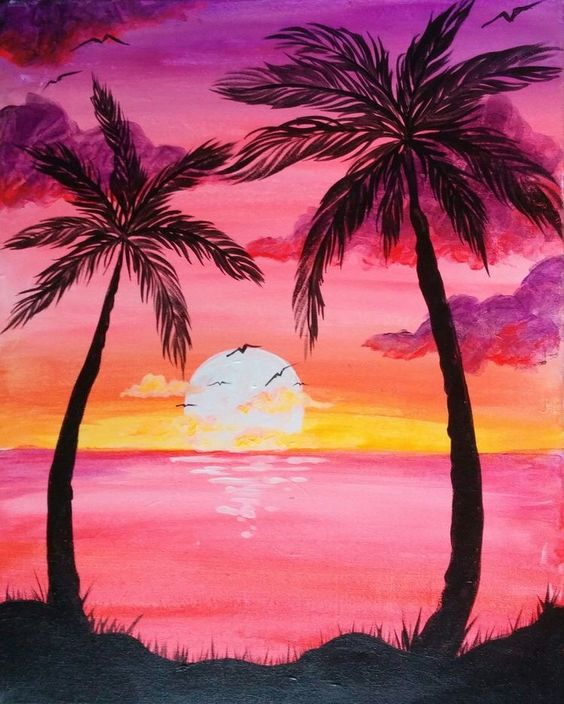 Easy Landscape Paintings Ideas for Beginners, Simple Canvas Paintings, Sunset Palm Tree Paintings, Easy Acrylic Painting Ideas for Beginners