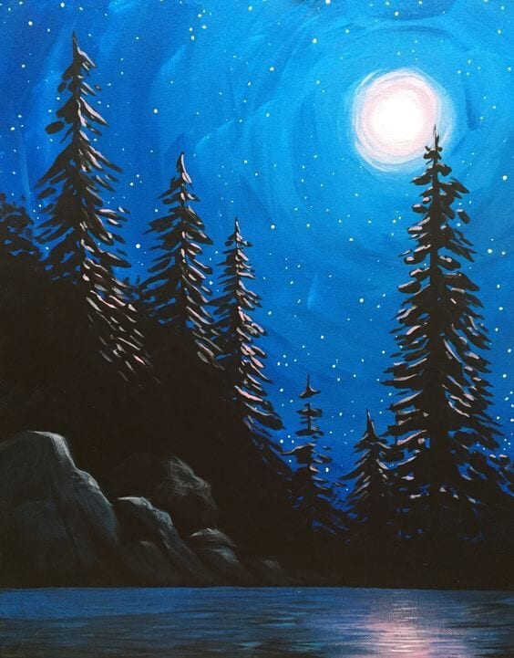 Easy Landscape Paintings Ideas for Beginners, Simple Canvas Paintings, Night Painting Ideas, Easy Acrylic Painting Ideas for Beginners