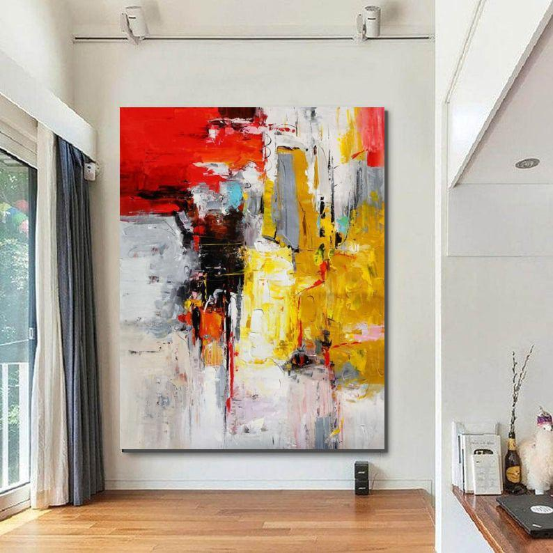 Canvas Painting for Living Room, Modern Wall Art Painting, Huge Contemporary Abstract Artwork