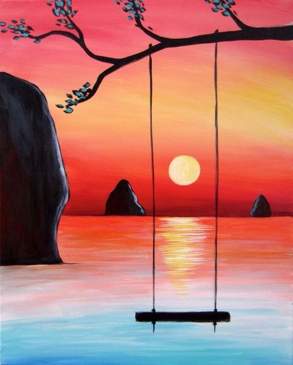 40 Easy Landscape Painting Ideas, Easy Acrylic Painting Ideas  for Beginners, Simple Abstract Painting Ideas, Night Painting, Easy Canvas Painting Ideas