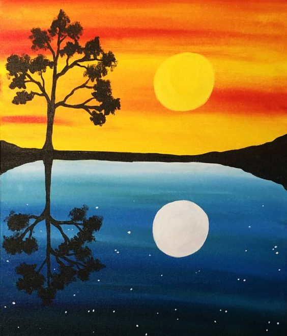 Easy Landscape Painting Ideas for Beginners, Easy Acrylic Painting Ideas, Easy Tree Painting Ideas, Simple Abstract Painting Ideas, Day and Night Painting, Easy Canvas Painting Ideas