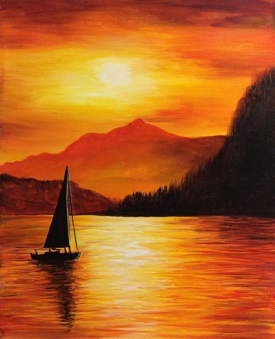Easy Landscape Paintings Ideas for Beginners, Simple Canvas Paintings, Boat Paintings, Sunset Painting, Easy Acrylic Painting Ideas for Beginners