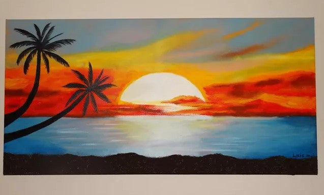 Easy Landscape Paintings Ideas for Beginners, Simple Canvas Paintings, Seascape Painting, Sunrise Painting, Easy Acrylic Painting Ideas for Beginners
