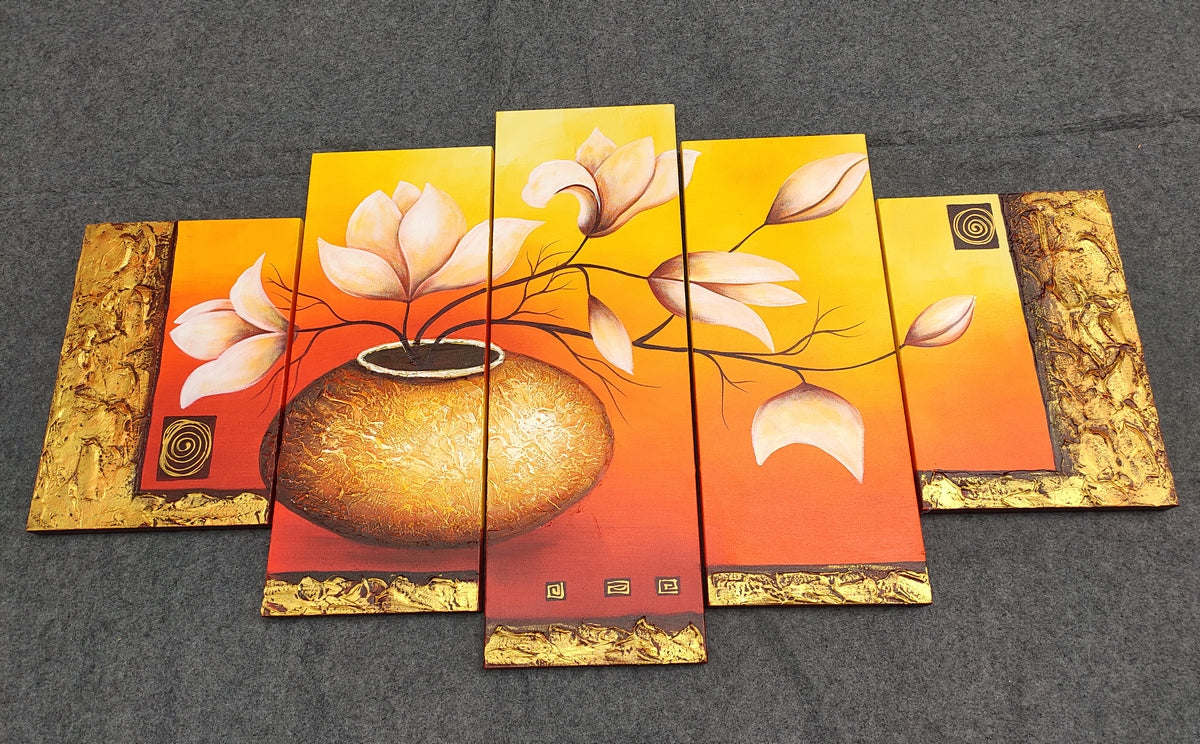 Hand Painted Canvas Art, Acrylic Flower Paintings, Large Paintings for Living Room, Acrylic Painting on Canvas