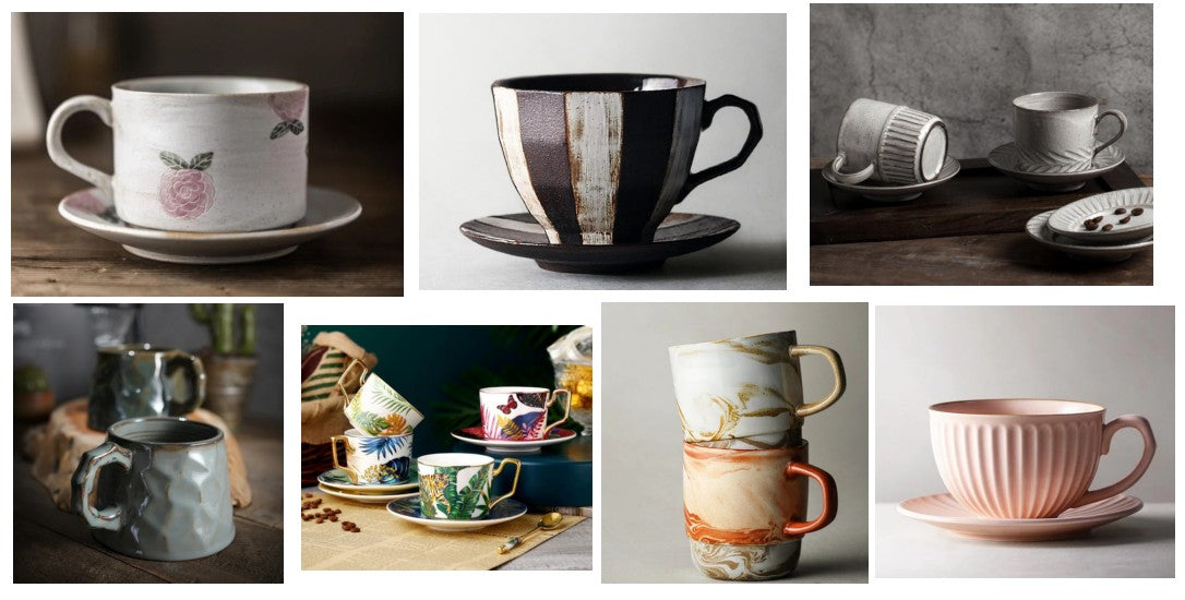 Cappuccino Coffee Cup, Pottery Coffee Cup, Coffee Mugs for Cafe, White coffee cup, Black coffee cup, Latte Coffee Cups