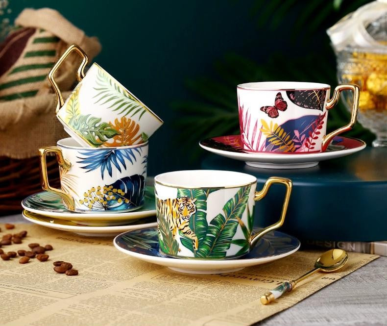 Jungle Animals Porcelain Coffee Cups, Coffee Cups with Gold Trim and Gift Box, Tea Cups and Saucers