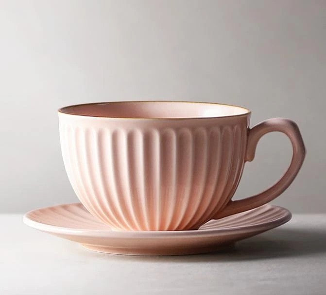Pink Pottery Coffee Cups, Cappuccino Coffee Mug, Latte Coffee Cup, White Tea Cup, Ceramic Coffee Cup, Coffee Cup and Saucer Set