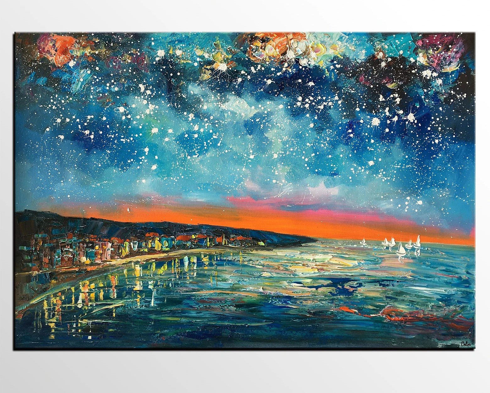 Landscape Canvas Paintings, Starry Night Sky Painting, Landscape Painting for Sale, Custom Original Painting on Canvas