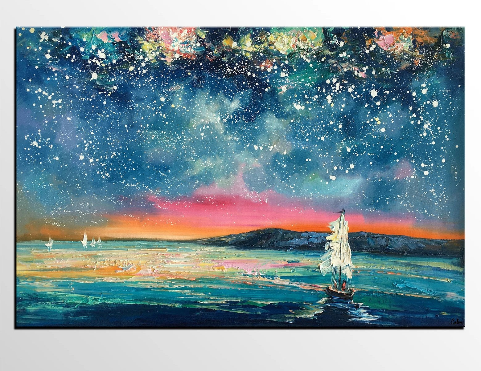 Landscape Oil Paintings, Sail Boat under Starry Night Sky Painting, Landscape Canvas Paintings, Custom Landscape Wall Art Paintings for Living Room