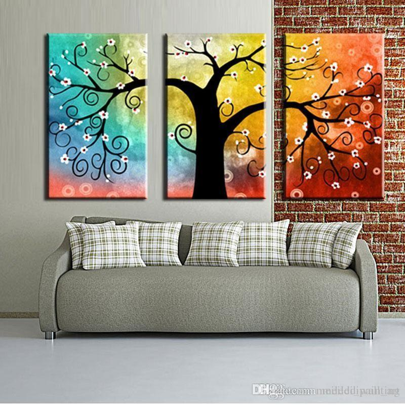 Abstract Acrylic Paintings, 3 Piece Canvas Paintings, Tree of Life Painting, Acrylic Painting for Living Room, Multiple Canvas Painting