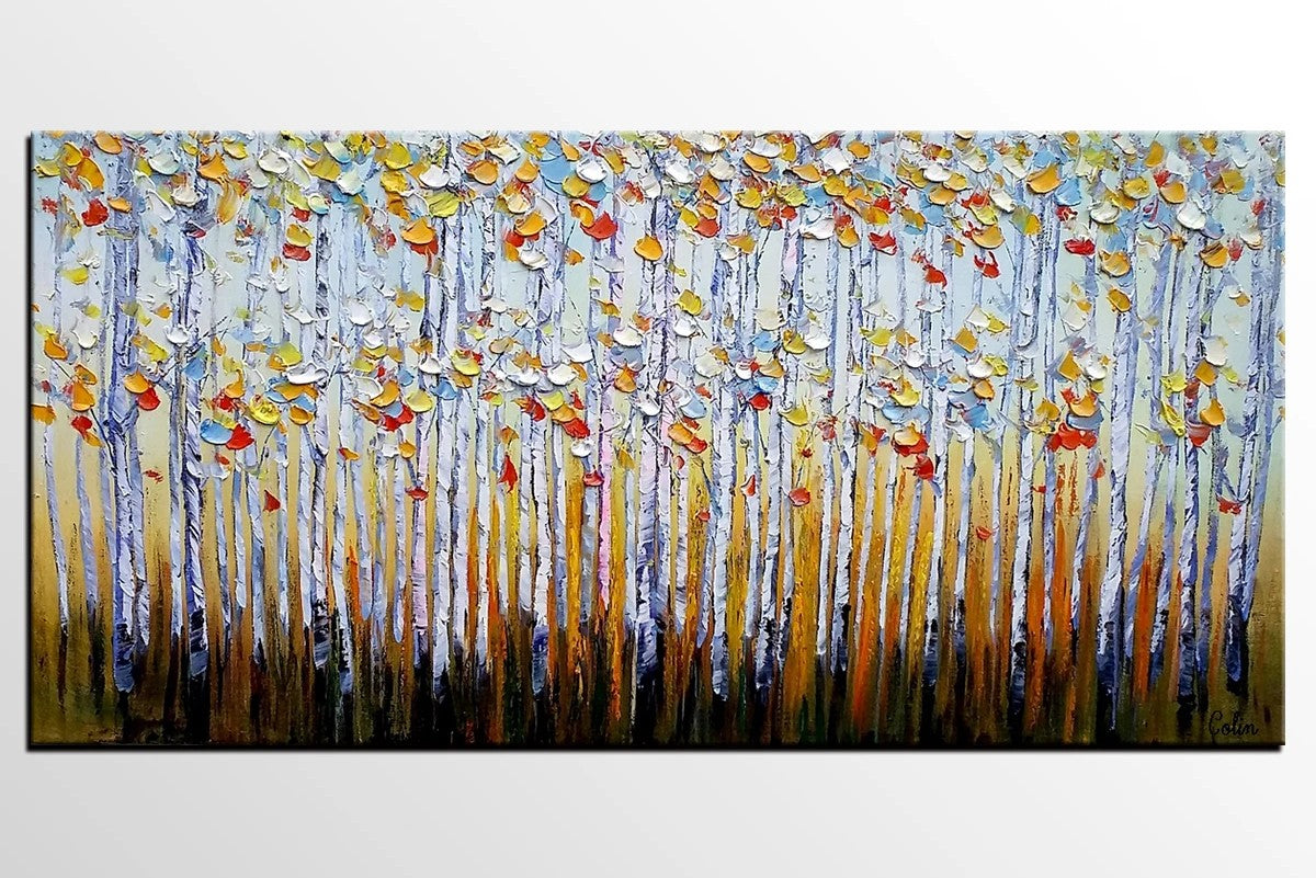 Abstract Landscape Paintings, Custom Original Oil Painting, Palette Knife Painting, Autumn Tree Paintings, Landscape Paintings for Bedroom