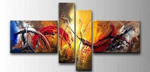 4 Piece Wall Art, Modern Contemporary Painting, Wall Art Paintings for Living Room, Acrylic Painting on Canvas