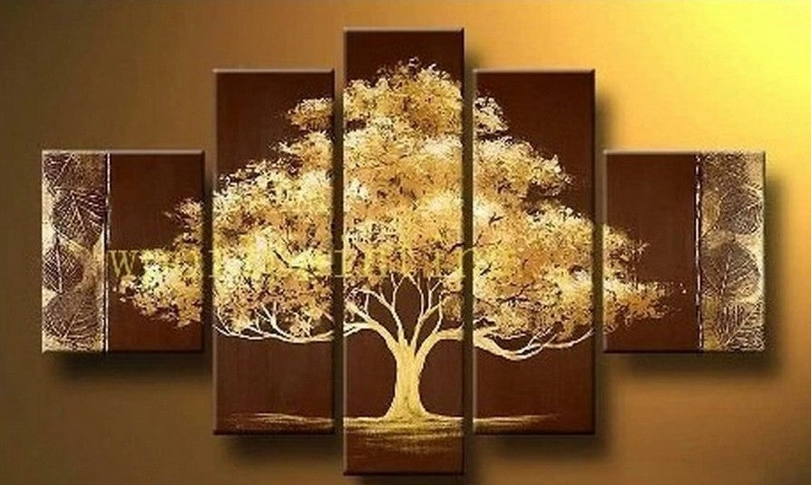 Tree of Life Painting, Heavy Texture Art, 5 Piece Canvas Painting, Acrylic Art on Canvas, Hand Painted Wall Art