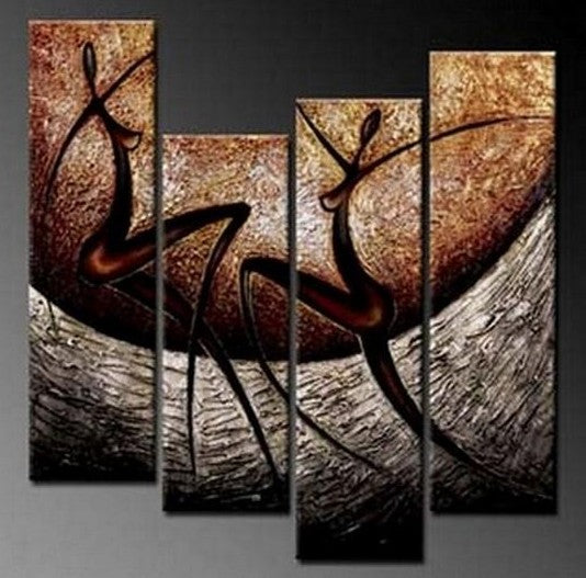 4 Piece Wall Art Paintings, Abstract Figure Painting, Living Room Wall Painting, Acrylic Modern Wall Art, Abstract Canvas Painting for Bedroom